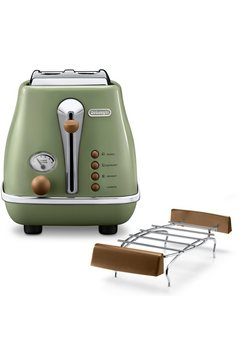 de'longhi toaster incona vintage »ctov 2103.bg« in retro-look, groen groen