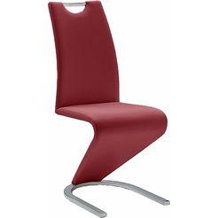 vrijdragende stoel in leer-look rood