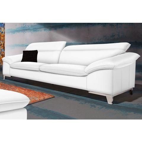 woonkamer driepersoons bankstel wit Luxe imitatieleer COTTA in 3 bekledingskwaliteiten