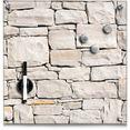 zeller present magneetbord stone memobord, van glas, steenmotief bruin