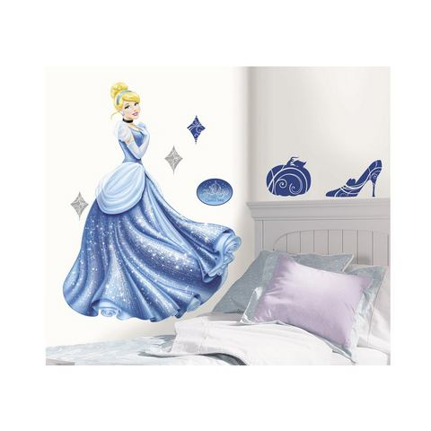 Disney RoomMates Muursticker Princess - Cinderella Glamour m.Glitter - Roze