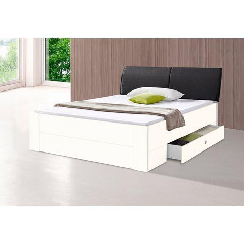 Bed met bergruimte en zacht bekleed hoofdbord wit Wimex 288934