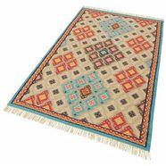 theko wollen kleed kelim royal 2 platweefsel, zuivere wol, met de hand geweven, met franje, woonkamer multicolor