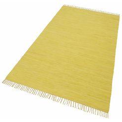 theko vloerkleed happy cotton platweefsel, puur katoen, met de hand geweven, met franje, woonkamer geel