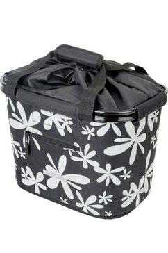blue bird fietstas voor aan het stuur, »shopping bag bloem« zwart