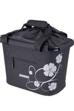 blue bird fietstas voor stuur, »shopping bag hibiscus« zwart