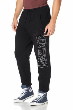 lonsdale joggingbroek met logoborduursel zwart
