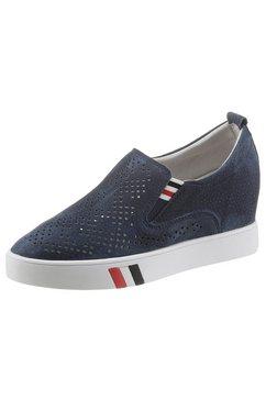 cosmos comfort sneakers met sleehak geperforeerd blauw