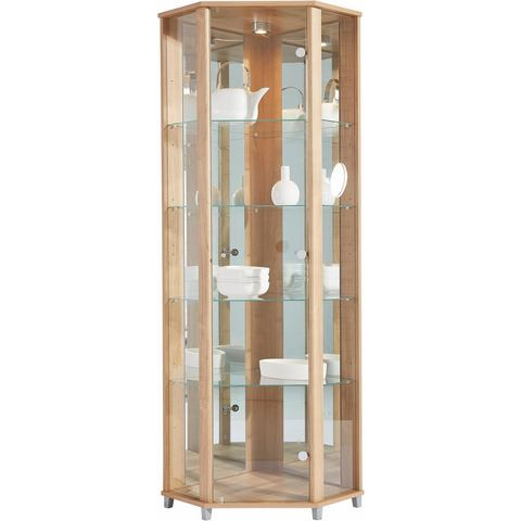 Hoekvitrinekast, hoogte 172 cm, 4 glasplateaus