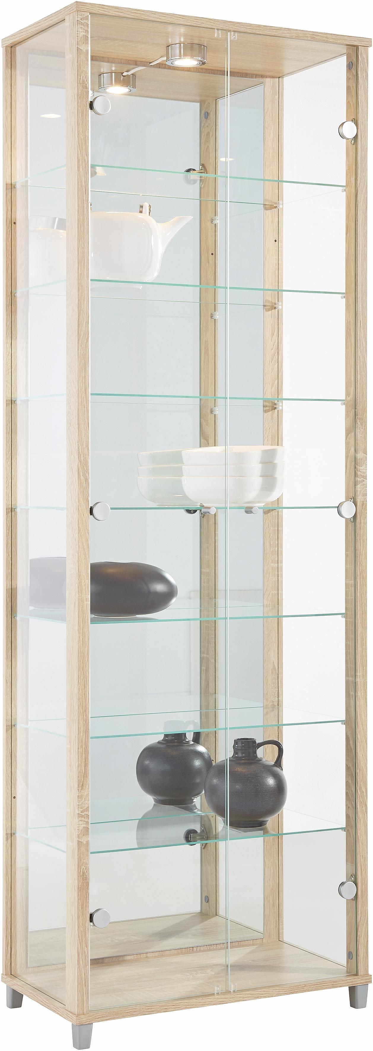Grote Glazen Vitrinekast.Vitrinekast Met Spiegelachterwand 7 Glasplateaus