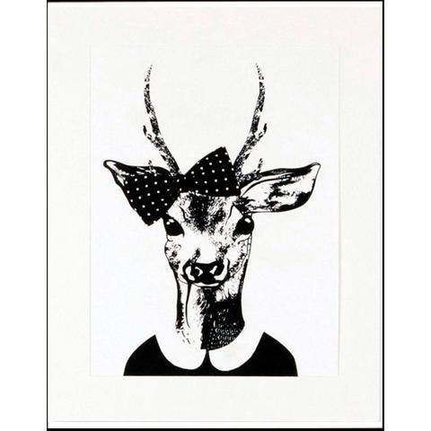 HOME AFFAIRE ingelijste artprint Ree-dame in wandelkleding, 33x43 cm