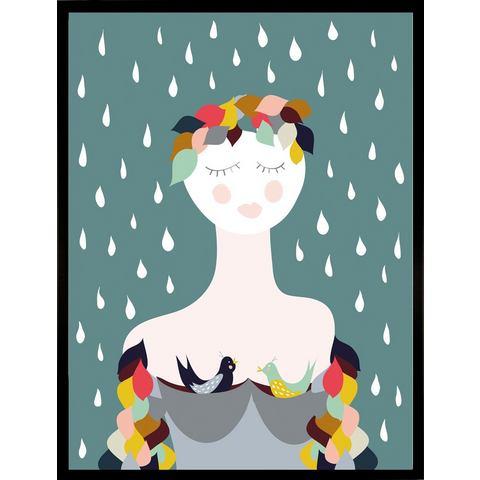 G&C ingelijste artprint Rainy Lady, 33x43 cm