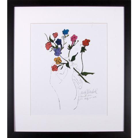 G&C ingelijste artprint Andy Warhol, Bonte bloemensteel, 33x43