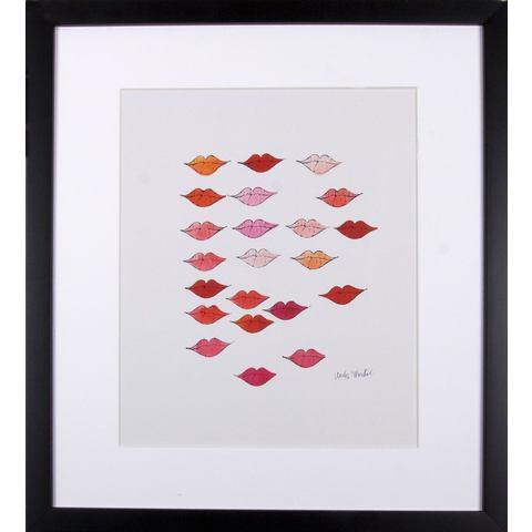 G&C ingelijste artprint Andy Warhol, Mooie rode lippen, 33x43