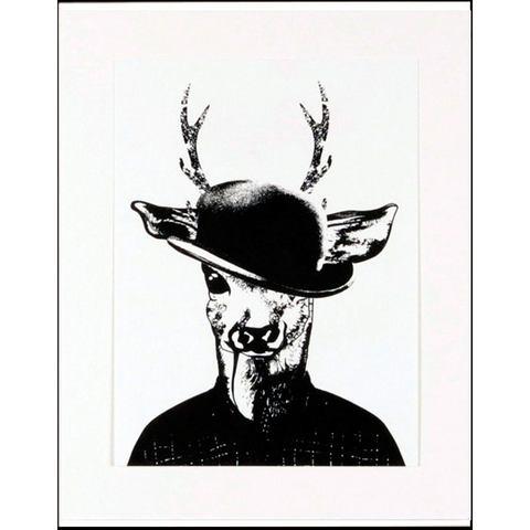 HOME AFFAIRE ingelijste artprint Ree in wandelkleding, 33x43 cm