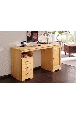 home affaire bureau lisa van massief hout, in verschillende kleurvarianten, breedte 140 cm beige