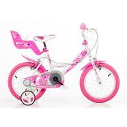 dino kinderfiets voor meisjes, 14 inch, 1 versnelling, »girlie« roze
