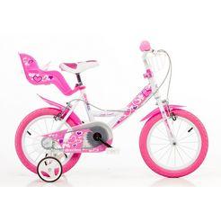 dino kinderfiets voor meisjes, 16 inch, 1 versnelling, »girlie« roze