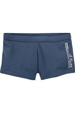 s.oliver red label beachwear zwemboxer met logo in used-look blauw