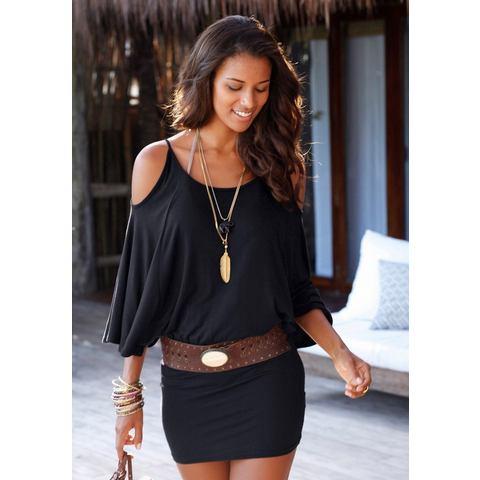 Lascana Mini-jurk met wijde mouwen zwart