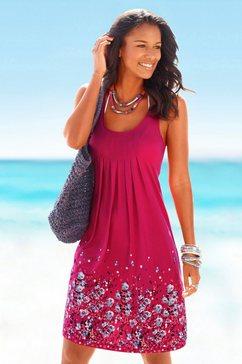 beachtime strandjurk met bloemenprint rood