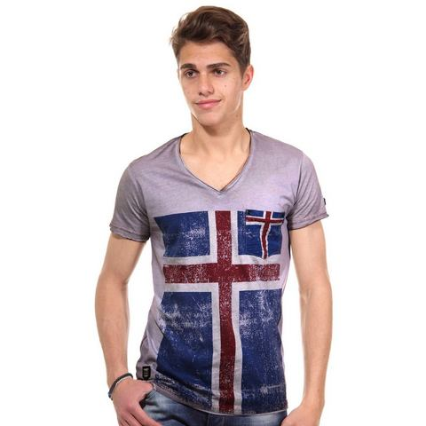 R-NEAL T-shirt met V-hals slim fit