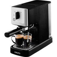 krups espressomachine calvi steam  pump xp3440, edelstaal, 1 l waterreservoir, zeer compact, snelle opwarming zwart