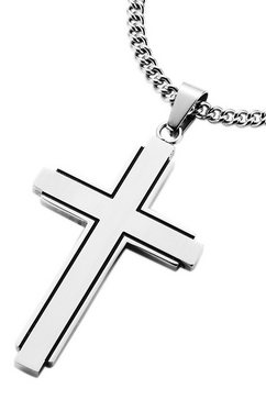firetti halssieraad: halsketting »kruis« met pantserkettingschakels zilver