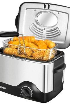unold friteuse kompakt 58615 inhoud bijv. 0,5 kg patat frites zilver