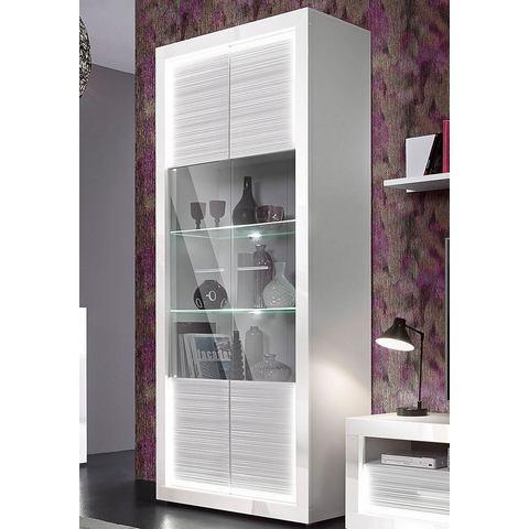 kast van 204 cm hoog mat-wit hoogglans-wit vitrinekast 161
