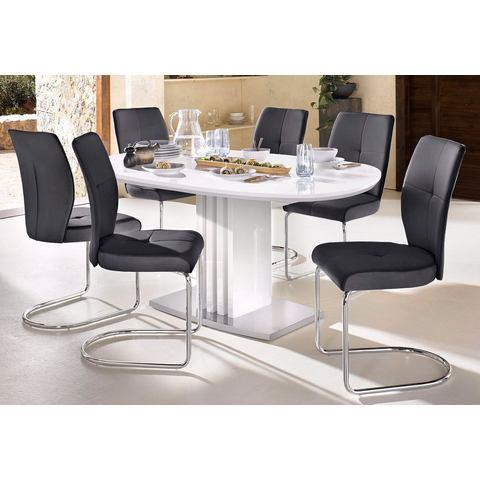Eettafel met uittrekfunctie en ovaal tafelblad, breedte 160 cm