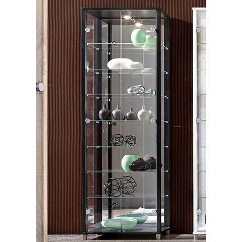 kast met spiegelachterwand & 7 glasplateaus zwart vitrinekast 157