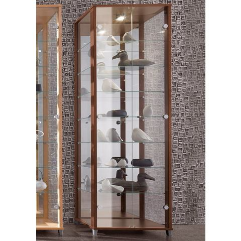 Vitrinekast met spiegelachterwand & 7 glasplateaus