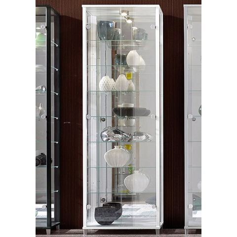 kast met spiegelachterwand & 7 glasplateaus wit vitrinekast 103