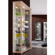 vitrinekast met spiegelachterwand  7 glasplateaus bruin
