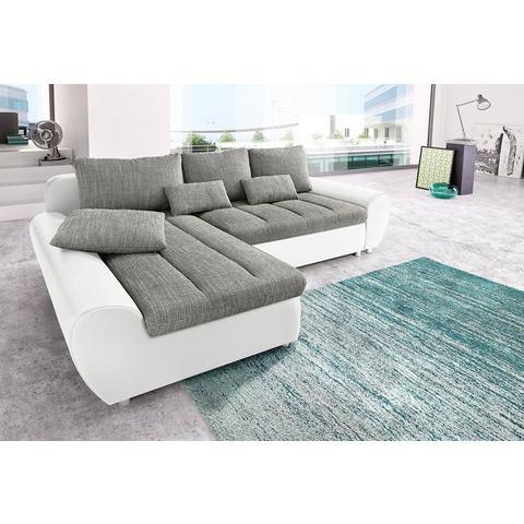 Hoekbank Sit&more Luxe imitatieleer structuurstof grijs 284048