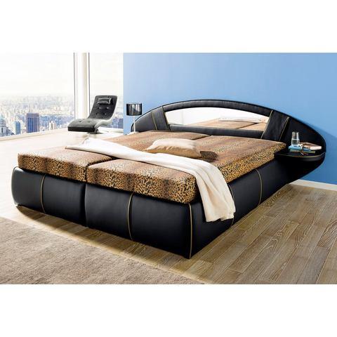 HAPO Bed met spiegel hoofdbord met Bonell binnenveringsmatras H2 zwart Hapo 224503