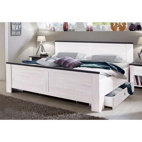 Bed met decoratieve opleglijsten met 2 laden wit Wimex 707362