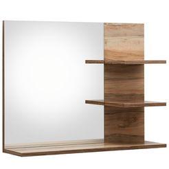 trendteam badspiegel cancun met randen in houttinten en 3 plateaus bruin