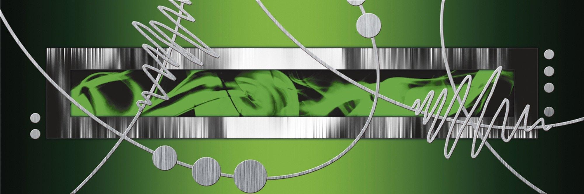 Home Affaire artprint op linnen »Jule: zilver abstract op groen«, 120x40 cm - verschillende betaalmethodes
