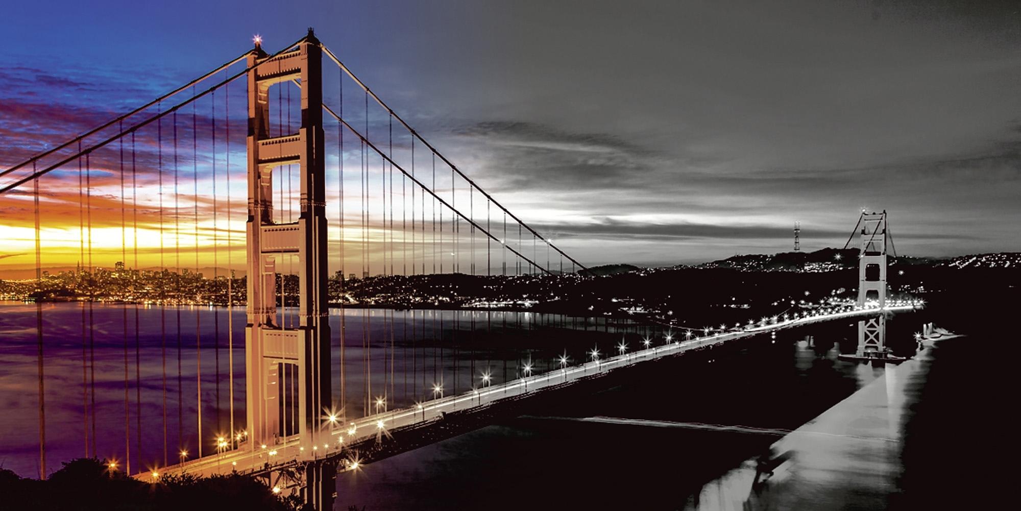 Home affaire artprint op linnen Nithon: The Golden Gate Bridge 's morgens vroeg 100x50 cm goedkoop op otto.nl kopen