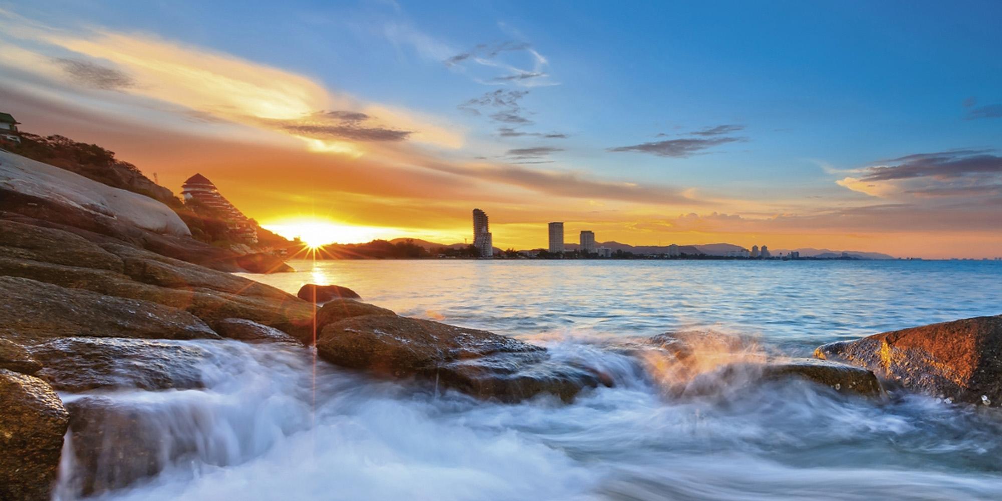 Home affaire print op glas Palo ok: zonsondergang op het strand van Hua Hin in Thailand 100x50 cm in de webshop van OTTO kopen