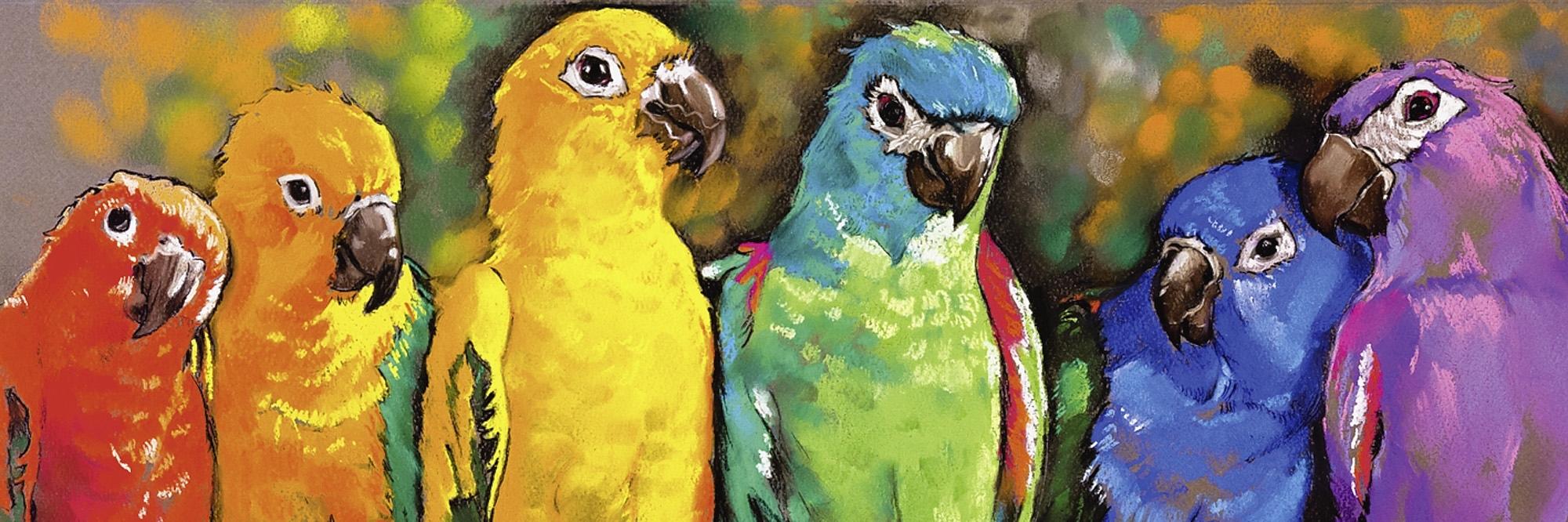 Home affaire artprint op linnen Automatic9751: papegaaien 120/40 cm bij OTTO online kopen