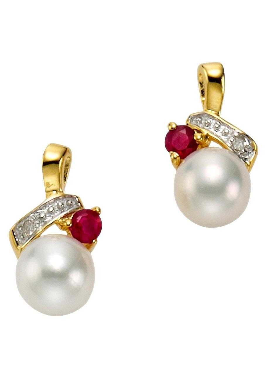 Firetti Vivance Jewels oorbellen: oorstekers 'Parel' met robijn en diamanten voordelig en veilig online kopen