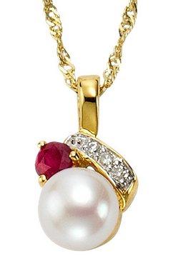 vivance jewels halssieraad: hanger zonder ketting met parel, robijn en diamant multicolor