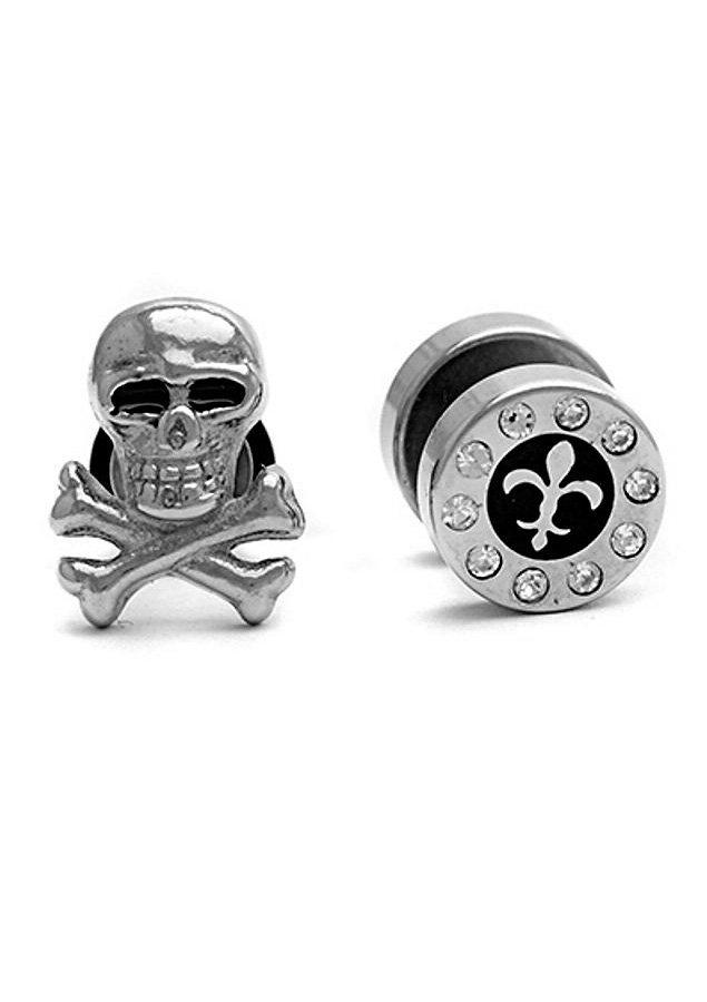 FIRETTI oorbellen: oorstekers-set »Fake Ear Plug« Skull/doodskop en lelie (2-dlg.)