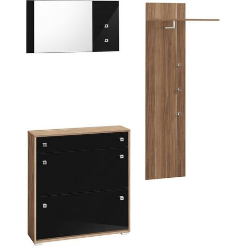 Complete garderobes Halmeubelen met hoogglanzend front in 3-delige set 215796