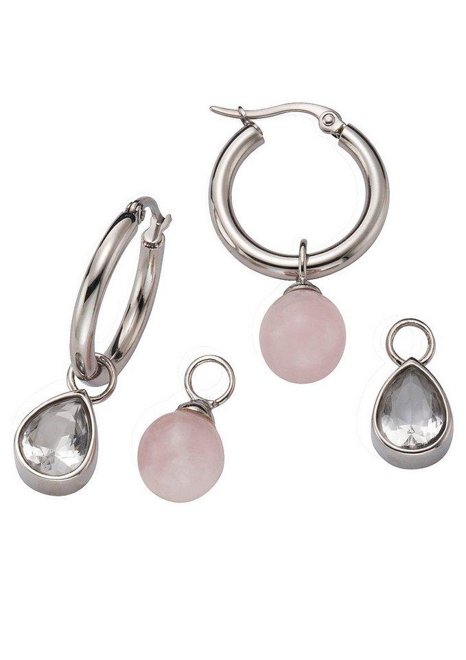 FIRETTI sieradenset: creool met hangers rozenkwarts en kristallen (6-dlg.)