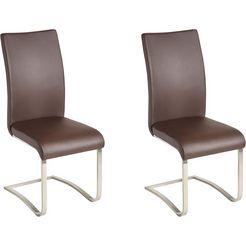 mca furniture vrijdragende stoel arco stoel overtrokken met echt leer, belastbaar tot 130 kg (set, 2 stuks) bruin