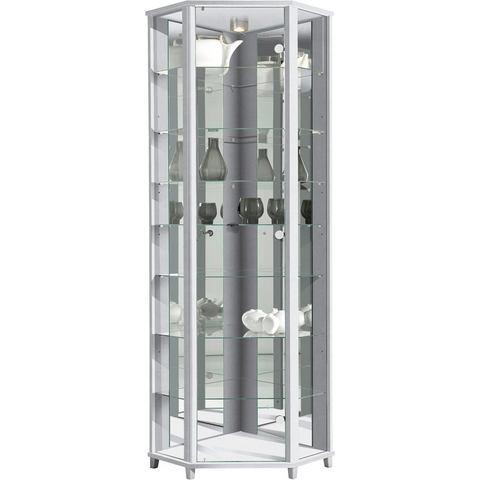 Hoekvitrinekast, hoogte 172 cm, 7 glasplateaus